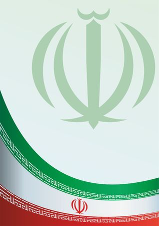 Template for the award, an official document with the flag and symbol of the Islamic Republic of Iran. Illustration