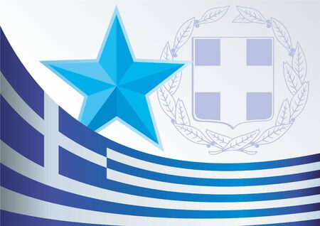 Template for the award, an official document with the flag and symbol of the Greece Illustration