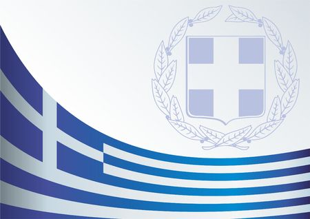 An official document with the flag and symbol of Greece template for the award,