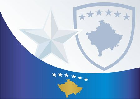 An official document with the flag and symbol of the Republic Of Kosovo Illustration