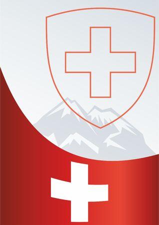 Voor de prijs, een officieel document met de vlag en het symbool van de Zwitserse Bondsstaat Stock Illustratie