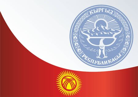 kyrgyz republic: Official document with the flag and symbol of Kyrgyz Republic Illustration