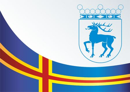 Official document with the flag and symbol of Aland Islands Illustration