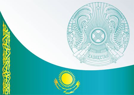 former: Official document with the flag and symbol of Republic of Kazakhstan