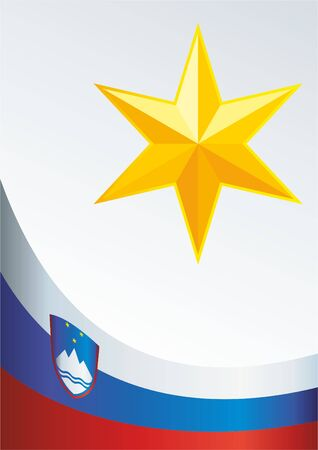 An official document with the flag and symbol of Republic of Slovenia Illustration