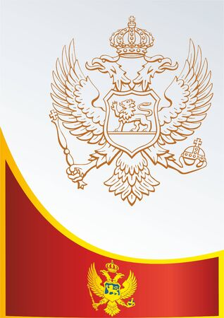 Template for the award, an official document with the flag and symbol of Montenegro Illustration
