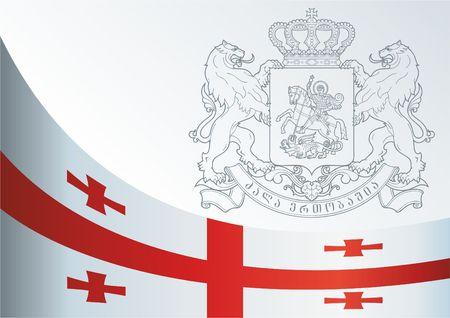 조지아의 국기와 상징이있는 공식 문서
