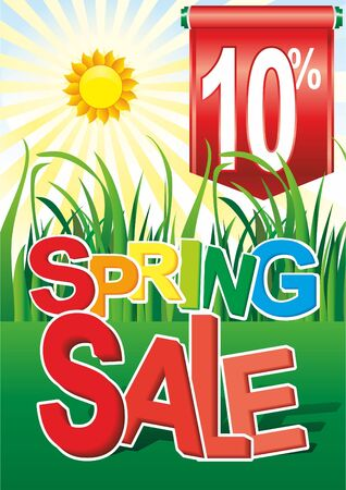 Spring sale, green grass, Promotion banner. May used as banner, poster, flyer. Vector illustration