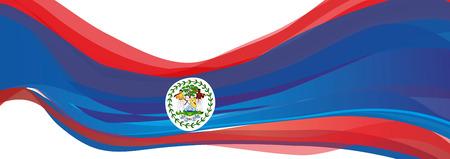 Flag of Belize, blue with red stripes and emblem the Flag of Belize