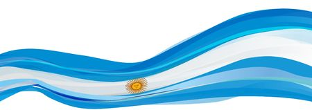 Flag of Argentina, light blue with a white sun Flag of the Argentine Republic Stock Photo