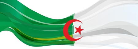 algeria: Flag of Algeria, green white with a red five-pointed star and crescent flag of the Algerian Democratic Peoples Republic