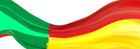 Flag of Benin, green yellow red Flag of the Republic of Benin Stock Photo