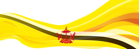Flag of Brunei, yellow with black and white stripe Flag of the Sultanate of Brunei Darussalam Stock Photo