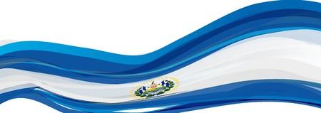 bandera de el salvador: Bandera de El Salvador, blanca, con el emblema de la bandera de la República de El Salvador Foto de archivo