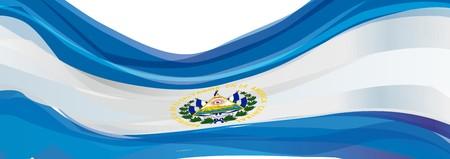 bandera de el salvador: Flag of El Salvador, white, with the emblem of the flag of the Republic of El Salvador