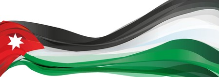 the hashemite kingdom of jordan: Flag of Jordan, black white green with a red triangle Flag the Hashemite Kingdom of Jordan Stock Photo