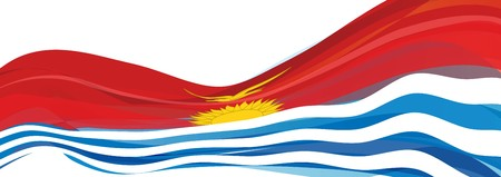 Flag of Kiribati, red with blue and white waves and the rising sun Flag of the Republic of Kiribati
