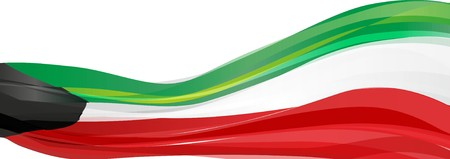 Flag of Kuwait, green white red-and-black Flag of the state of Kuwait