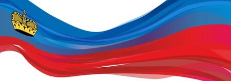 Flag of Liechtenstein, blue red with a crown of the Flag of the Principality of Liechtenstein Stock Photo