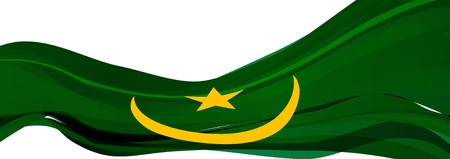 Flag of Mauritania, green with yellow Crescent and five-pointed star Flag of the Islamic Republic of Mauritania Stock Photo