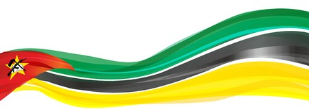 Flag of Mozambique, green black and yellow with a red triangle Flag of the Republic of Mozambique