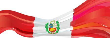 bandera de peru: Flag of Peru, red white with the emblem of the Flag of the Republic of Peru Foto de archivo