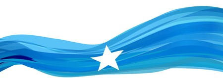 Flag of Somalia, light blue with a white five-pointed star Flag of the Somali Republic Stock Photo