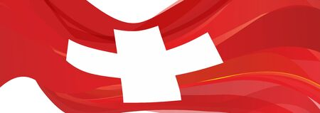 Flag of Switzerland, red flag with a white cross of the Swiss Confederation 版權商用圖片
