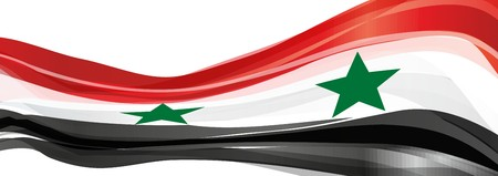 Flag of Syria, red white black with green stars on the Flag of the Syrian Arab Republic
