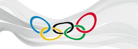 5 つのオリンピック リングの白い旗