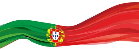 Flag of Portugal, green red flag with the emblem of the Republic of Portugal