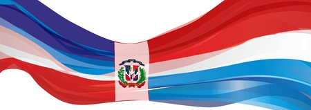 Vlag van de Dominicaanse Republiek, blauwrood met een wit kruis en het embleem van de vlag van de Dominicaanse Republiek