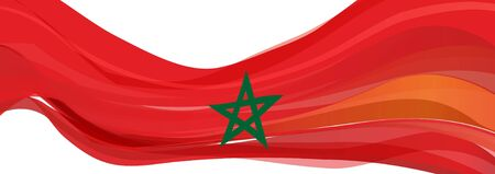 Flag of Morocco, red with a green five-pointed star Flag of the Kingdom of Morocco Фото со стока