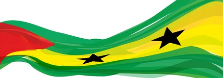 estrellas cinco puntas: Flag of Sao Tome and Pr?ncipe, green yellow with a red triangle and black five-pointed stars on the Sao Tome and Principe Foto de archivo