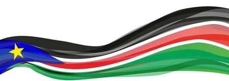 남쪽 수단의 국기, 남색의 파란색 삼각형과 황색 별이 표시된 검은 색 - 빨강 - 녹색