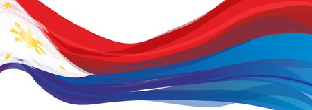 Vlag van de Filippijnen, rood blauw met een witte driehoek en de Golden Sun-vlag van de Republiek der Filipijnen