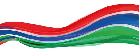 Flag of the Gambia, red blue green and white striped Flag of the Republic of the Gambia
