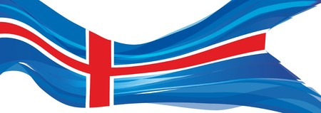 Variant flag of Iceland, blue with white and red cross Flag of the Republic of Iceland Stock Photo
