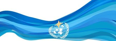 WMO flag, light blue flag of the world Meteorological Organization 版權商用圖片