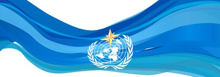 WMO flag, light blue flag of the world Meteorological Organization Stock Photo