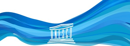 Light blue flag UNESCO - United Nations Educational, Scientific and Cultural Organization