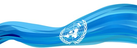 Flag of the United Nations, light blue with white logo Flag of the United Nations Stock Photo