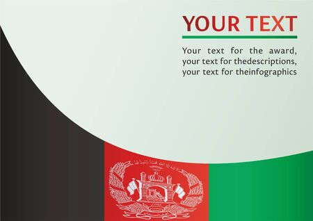 Flag of Afghanistan, template for the award, an official document with the flag of the Islamic Republic of Afghanistan