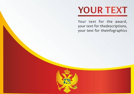 Flag of Montenegro, the template for the award, an official document with the flag of Montenegro Illustration