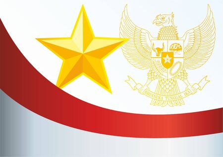 Flag of Indonesia, the template for the award, an official document with the flag and symbol of the Republic of Indonesia