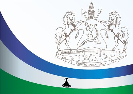 Flag of Lesotho, the template for the award, an official document with the flag and the symbol of the Kingdom of Lesotho