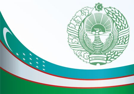 Flag of Uzbekistan, template for the award, an official document with the flag and symbol of the Republic of Uzbekistan Illustration