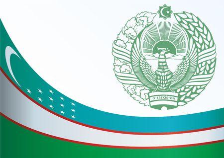 Vlag van Oezbekistan, sjabloon voor de toekenning, een officieel document met de vlag en het symbool van de Republiek Oezbekistan Stock Illustratie