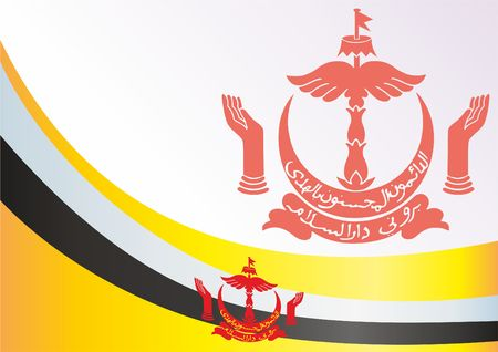 Flag of Brunei, template for the award, an official document with the flag and symbol of Nation of Brunei, Abode of Peace Illustration