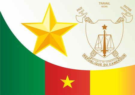 Flag of Cameroon, template for the award, an official document with the flag and the symbol of the Republic of Cameroon
